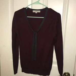 Loft light merlot sweater with accent that ties XS